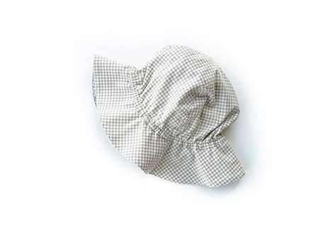 Kids Sun Hat, Beige Small Check