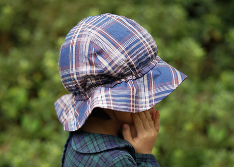 Kids Sun Hat, Navy Tartan Check