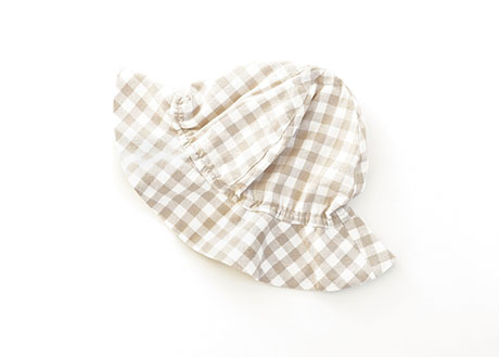 Kids Sun Hat, Beige Big Check
